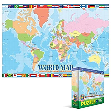 Amazon.com: World Map 100 Piece Jigsaw Puzzle: Toys & Games