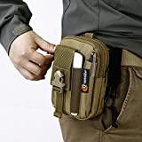 Q-Smile Multi-Purpose Compact EDC Pouch Molle Tactical Duty Belt Loop Waist Pack Durable Water Resistant Nylon Handy Bag Outdoor Sports Gadgets Organizer Bag Mobile Phone Pouch Holster (Brown)
