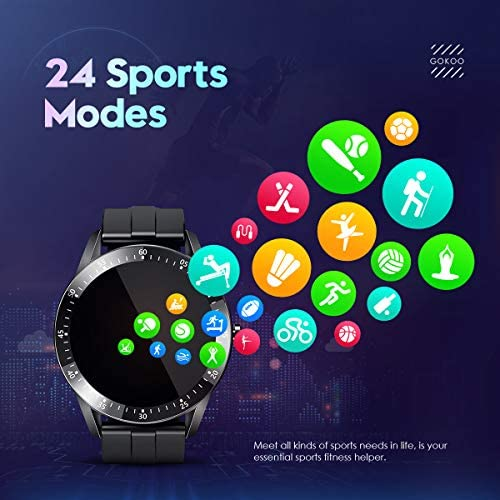 GOKOO Smart Watch Men, Smart Watches Fitness Tracker Mens with Blood Pressure Monitor Heart Rate Sleep Compatible with iOS and Android Phones Waterproof Pedometer Calorie Counter Running 3