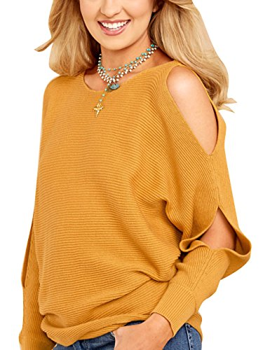 Women's Crew Neck Cut Out Long Sleeves Batwing Sweater Pullover Top
