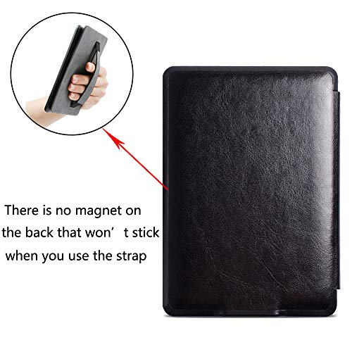 ISeeSee All-new Kindle Paperwhite Water-Safe Fabric Cover (10th Generation-2018),Holding Case PU Leather E-Reader Smart Cover with Auto Sleep/Wake for Amazon All-New Kindle Paperwhite 2018 Black