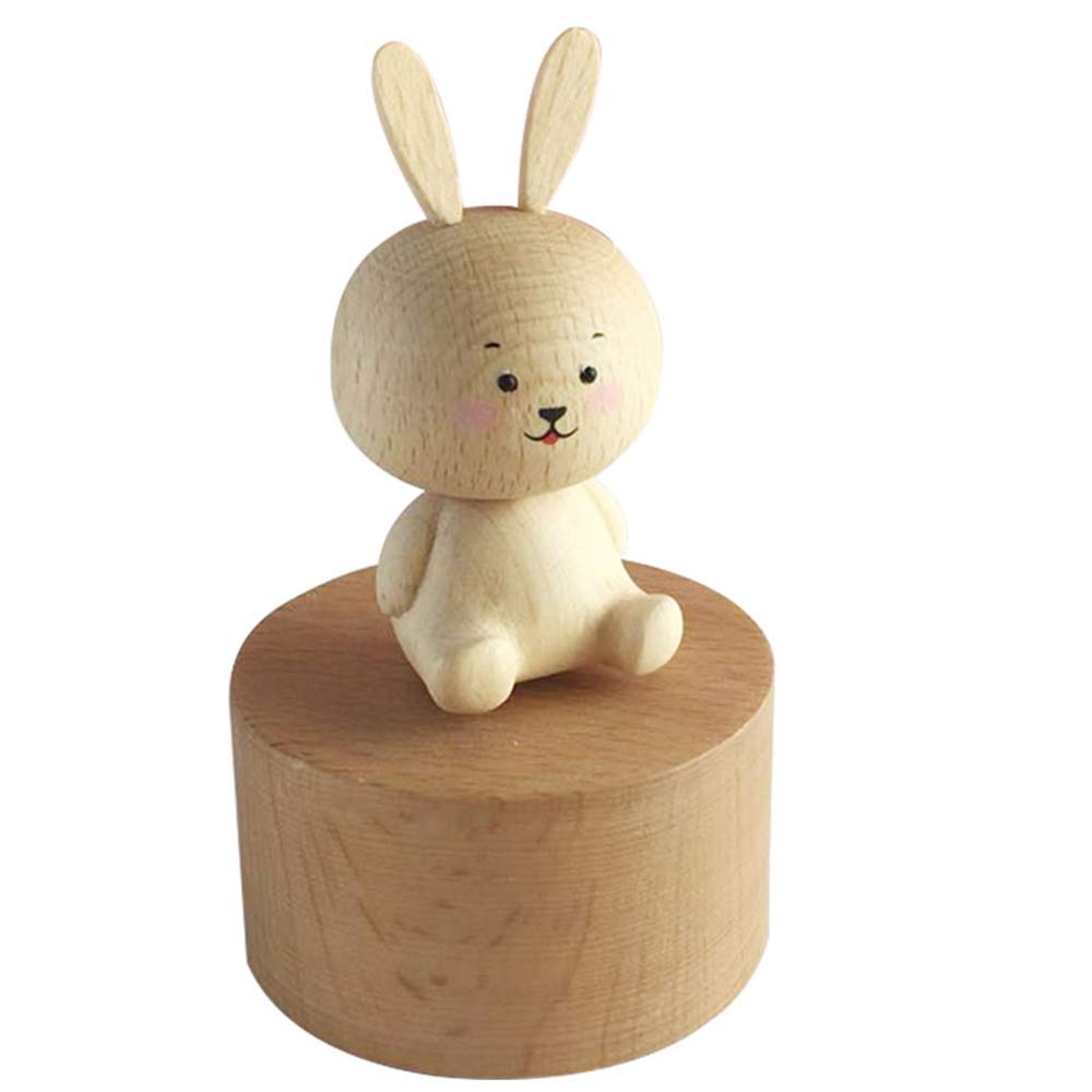 Yunhigh Wooden Music Box, Wood Rabbit Animal Shape Wind Up Musical Box for Girls Kids Birthday