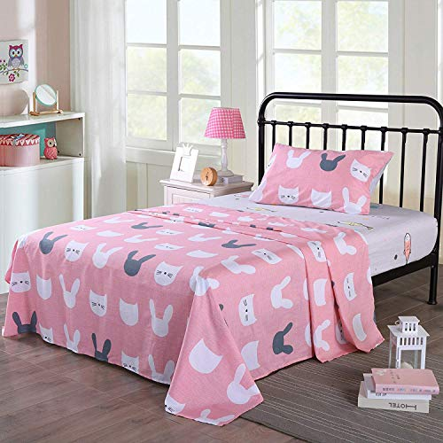 Queen Linens 100% Cotton Sheets Kids Twin Sheets for Kids Girls Boys Teens Children Sheets Bed Sheets for Kids Soft Fitted Flat Printed Sheet Pillowcase Bedding Bed Set Pink Kitty Bunny (Twin)