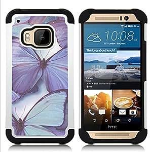 """HTC One M9 /M9s / One Hima - 3 en 1 impreso colorido de Altas Prestaciones PC Funda chaqueta Negro cubierta gel silicona suave (Mariposa púrpura Blue Spring Naturaleza"""")"""