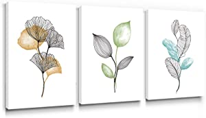 Gronda Minimalist Wall Art Modern Pictures Framed leaves Paintings Contemporary Leaf Prints Canvas Plant Artwork Blue Green Orange Home Decor for Bathroom Bedroom Living Room 12x16 Inch, 3 Panels