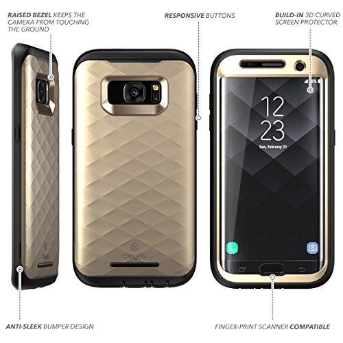 new arrival b5ca8 ee897 Galaxy S7 Edge Case, Clayco [Hera Series] Full-Body Rugged Case with  Built-in Screen Protector for Samsung Galaxy S7 Edge (2016 Release) (Gold)