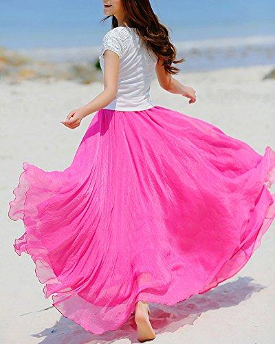 Rose Plage Maxi Longue Pliss Casual Rtro Jupe Robe Light Bohme Femme w6Hvx6