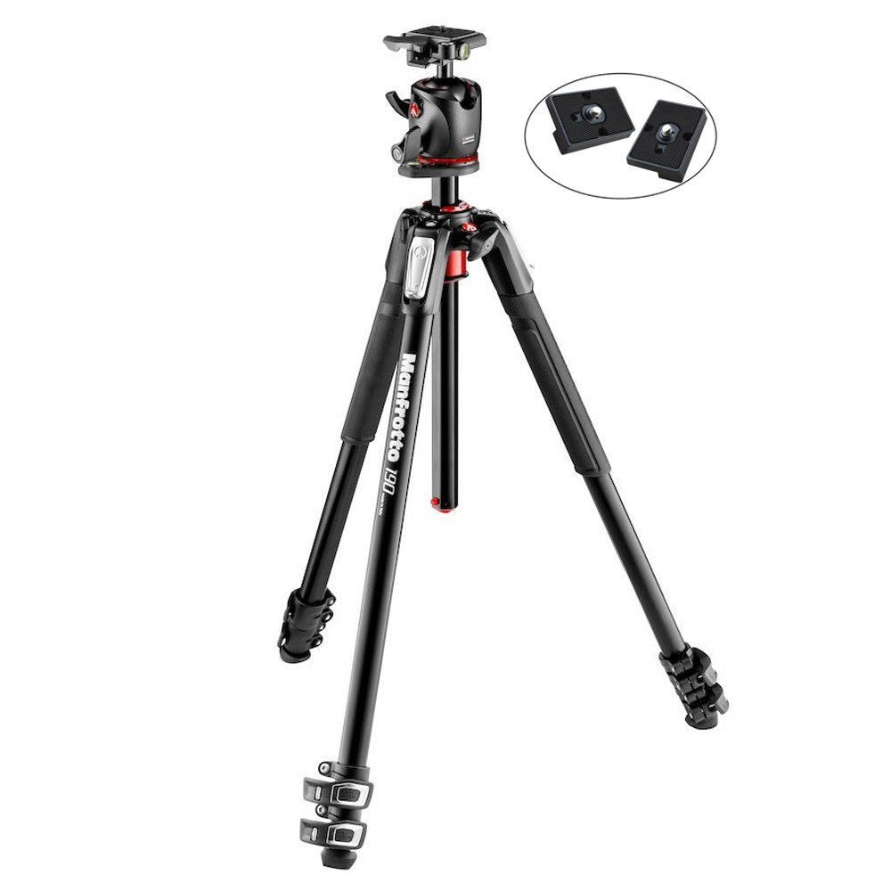 Manfrotto MK190XPRO3-BHQ2 Aluminum Tripod with XPRO Ball Head Includes Two ZAYKiR Quick Release Plates by Manfrotto