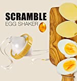 HOMEplus Hand Powered Golden Egg Shaker Egg Scrambler Beater Scrambles Eggs Without Breaking The Shell, Yellow
