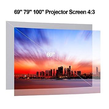 Gamogo Pantalla de proyector portátil HD 4: 3 69 Pulgadas Diagonal ...