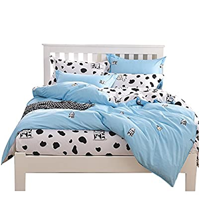 YOUSA Milk Cow Duvet Cover Set Cartoon Kids Bedding Set Full: Home & Kitchen