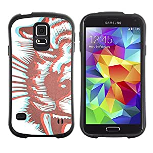 Suave TPU GEL Carcasa Funda Silicona Blando Estuche Caso de protección (para) Samsung Galaxy S5 / CECELL Phone case / / Tiger Art White Brown /