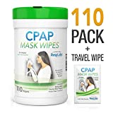 CPAP Mask Cleaning Wipes - 110 Pack + Travel Wipe | The Original Unscented Cleaner and Sanitizer for Masks | Equipment & Machine Supplies by RespLabs