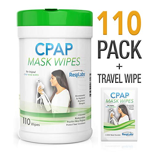 CPAP Mask Cleaning Wipes - 110 Pack + Travel Wipe | The Original Unscented Cleaner and Sanitizer for Masks | Equipment & Machine Supplies by RespLabs by RespLabs Medical Inc.