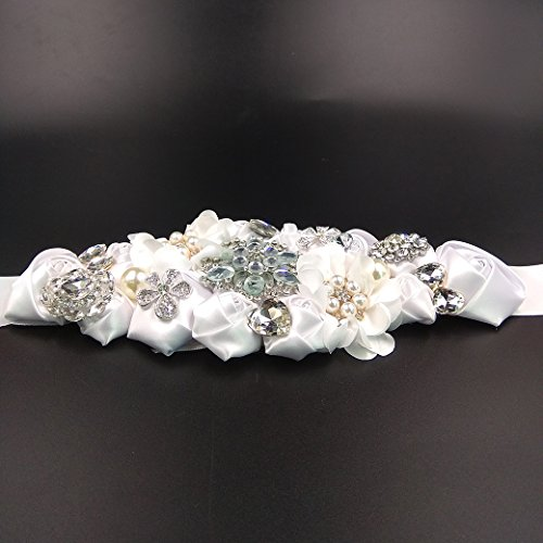 Lujuny Crystal Flower Bridal Maternity Sash Belt – Floral Ribbon Tie for Wedding Pregnant Baby Shower Party Photoshoot (WHITE) by Lujuny (Image #8)