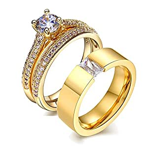 Amazon.com: LOVERSRING His and Hers Wedding Ring Sets