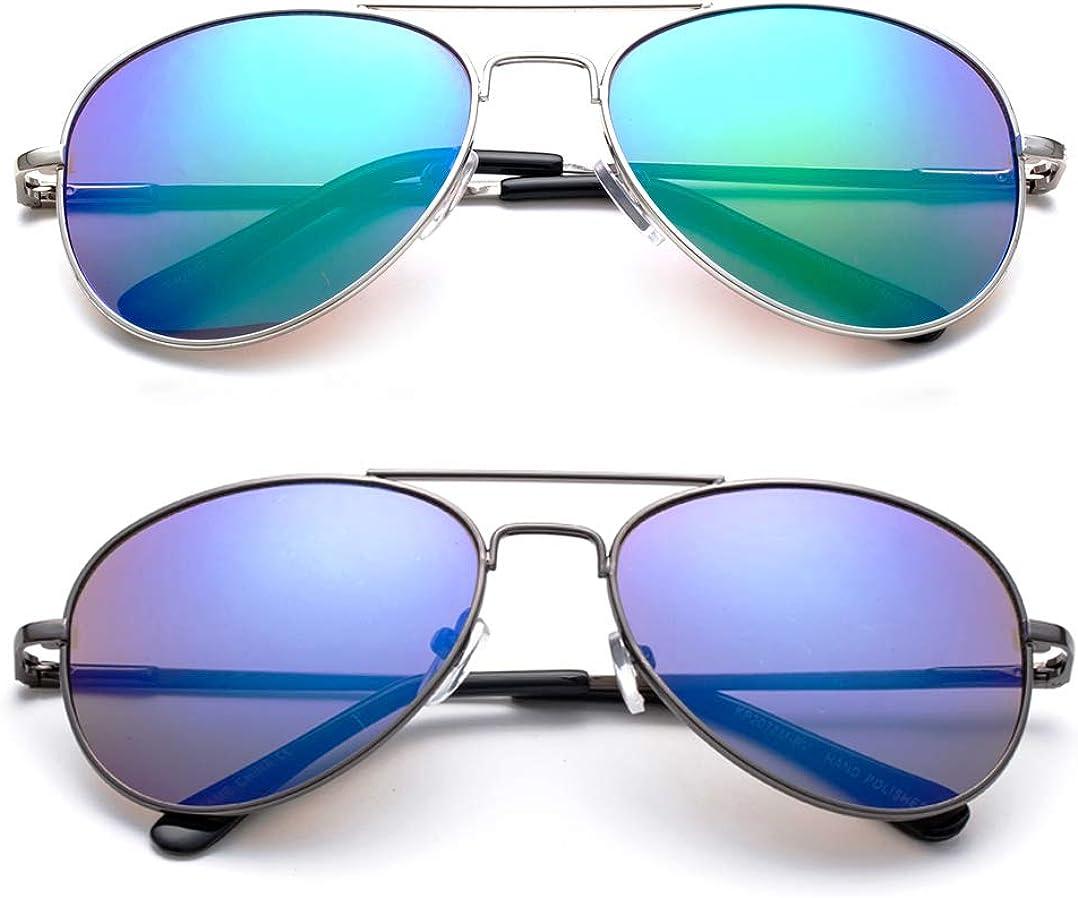 Newbee Fashion Kyra Kids Popular Aviator Flash//Mirrored Lead Free Fashion Aviator Kids Sunglasses with Spring Hinges Girls Boys