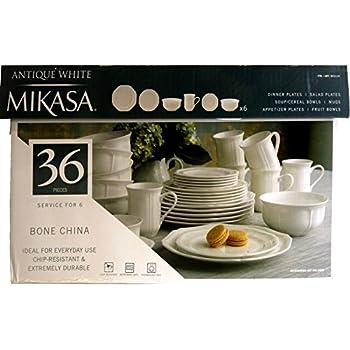 Mikasa Antique White 36-pc Bone China Dinnerware Set Service for 6  sc 1 st  Amazon.com & Amazon.com | Mikasa Antique White 36-pc Bone China Dinnerware Set ...