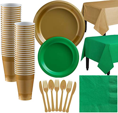 Party City Gold and Green Plastic Tableware Kit for 50 Guests, 487 Pieces, Includes Plates, Napkins, and Table Covers]()