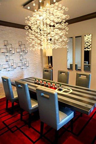 Siljoy Modern Rectangular Bubble Glass Chandelier Lighting For Dining Room  L80 X W30 X H100 Cm