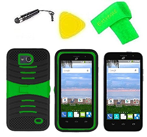 Heavy Duty Hybrid w Kickstand Phone Cover Case Cell Phone Accessory + Extreme Band + Stylus Pen + Screen Protector + Pry Tool For Straight Talk Tracfone NET10 ZTE Atrium Z793C (S-Hybrid Black Green)