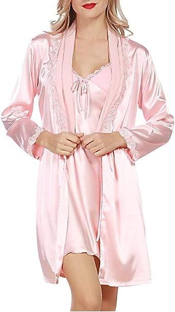 Mujer Batas Primavera Otoño Satín Vestidos Pijamas Mujer ...