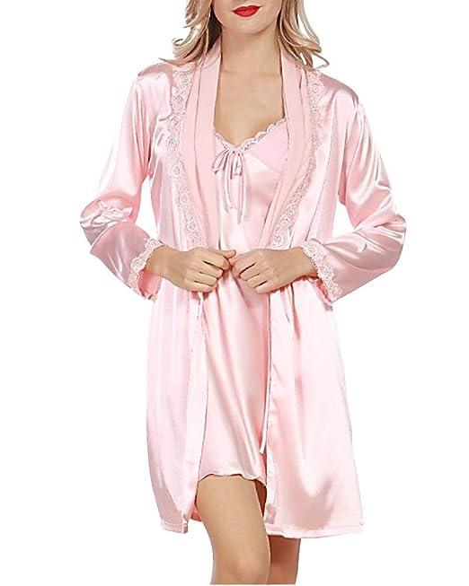 Mujer Batas Primavera Otoño Satín Pijamas Mujer Cardigan Dos Piezas Vestidos Mode De Marca Color Sólido Manga Larga Splice Encaje Pijama Camisones: ...