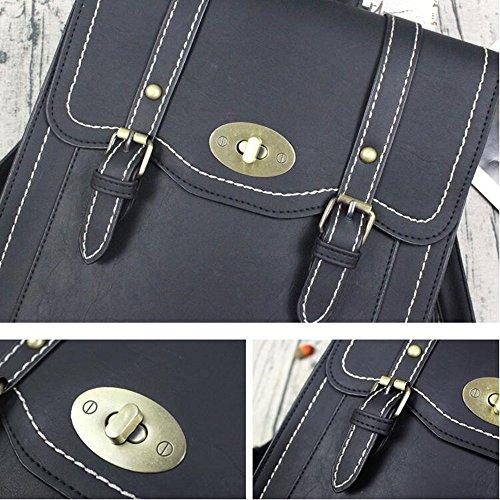 Damen Tasche PU Leder Retro Doppel Schultergurt Schloss Schnalle Rucksack lässiger Stil Dual-Use Rucksack