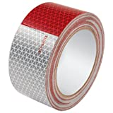 """Allstar ALL14240 Red and White Triangle Pattern 2"""" Wide x 50' Long Roll Reflective Tape"""