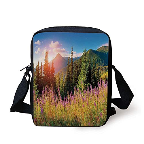 (Landscape,Fall Landscape Picture in Mountains with Flowers Alpine Trees Forest at Sunrise,Green Pink Print Kids Crossbody Messenger Bag Purse)