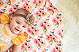 Pink watercolor floral swaddle blanket