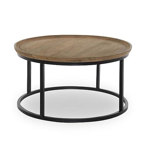 Couchtisch rund 90cm Holz Metall Tischplatte Massivholz ...
