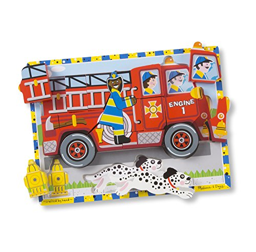 Puzzle Vehicles Chunky (Melissa & Doug Fire Truck Wooden Chunky Puzzle (18 pcs))
