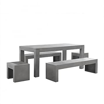 modern concrete patio furniture. Concrete Outdoor Dining Set - Modern Design Patio Furniture Table 2 Benches Stools