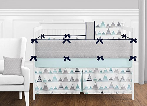 - 9 pc. Navy Blue, Aqua and Grey Aztec Mountains Baby Boy or Girl Unisex Crib Bedding Set with Bumper by Sweet Jojo Designs