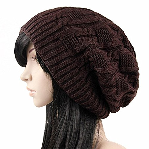 Slouchy Knit Beanie Cap for Winter Oversized Warm Hat (Brown Striped Beanie)