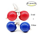 Kaptin 6 Pack Ladder Toss Ball Replacement Ladder Golf Balls Bolos Bolas With Real Golf Balls(Red and Blue)