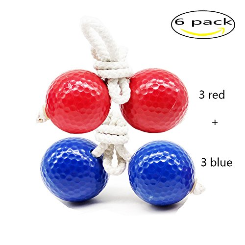 Kaptin 6 Pack Ladder Toss Ball Replacement Ladder Golf Balls Bolos Bolas With Real Golf Balls(Red and Blue) by Kaptin