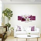 prestigeart-Bilder-Blumen-Lilien-Wandbild-Vlies-Leinwand-Bild-XXL-Format-Wandbilder-Wohnzimmer-Wohnung-Deko-Kunstdrucke-Violett-5-Teilig-100-MADE-IN-GERMANY-Fertig-zum-Aufhngen-202152a