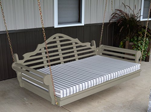 ASPEN TREE INTERIORS 6' Porch Swing Bed - Classic Lutyens Swinging Daybed - Amish Crafted in 8 Designer Color Choices - Hardware Included (Greige) ()