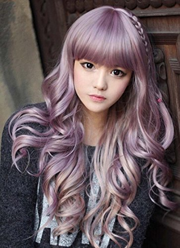 Women Girls Natural Looking Daily Wear Cute Light Purple Fluffy Curly WigJapan Harajuku Sweet Lolita Club Costume Party Hair with Wig - Wear Vanessa