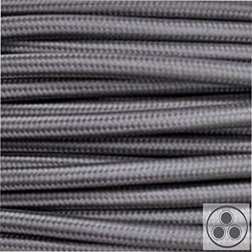 rund 3x0,75 H03VV Textilkabel Leitung Textilfaser umflochten blau