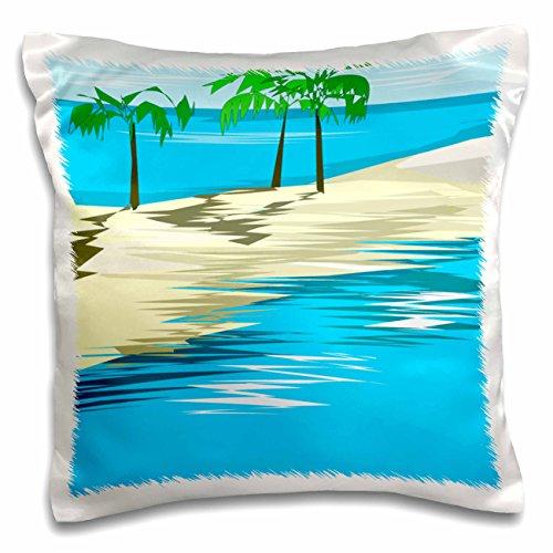 (3dRose TDSwhite – Summer Beach Theme - Sandbar Palm Trees - 16x16 inch Pillow Case (pc_285725_1))