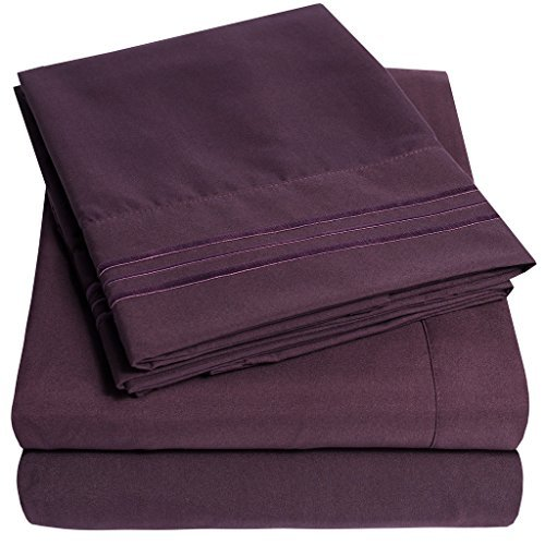 1500 Supreme Collection Extra Soft King Sheets Set, Purple - Luxury Bed Sheets Set with Deep Pocket Wrinkle Free Hypoallergenic Bedding, Over 40 Colors, King Size, Purple (Purple King Size Sheet Set)