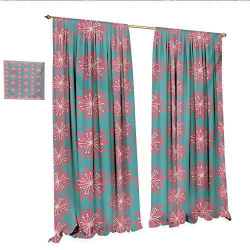 Outdoor Waterproof Window Curtain Germinating Plants Wildflowers Twigs Sprouts Buds Lively Rustic Patio Print Waterproof Window Curtain W108 x L84 Teal Pink White.jpg