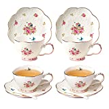 Jusalpha Porcelain Tea Cup and Saucer Set-Coffee Cup Set with Saucer and Spoon FD-TCS11 (Set of 4)