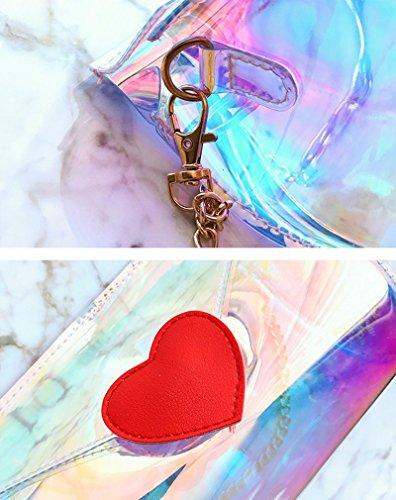 Transparent Purse Sweet Bag Heart Crossbody Shoulder Shape Girls Hologram Marchome Barrel PwUq1x