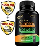Turmeric Boswellia Extract Supplement - Strong Natural Pain Relief & Joint Support Pills 2000 mg - Extra Strength Anti-Inflammatory Boswellia Serrata with Turmeric Curcumin Powder 90 Capsules