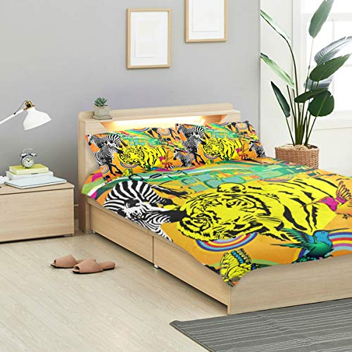 KVMV Pattern Zebra Tiger Suitable Fabric Wrapping Duvet Cover Set Design Bedding Decoration King 3 PC Sets 1 Duvets Covers with 2 Pillowcase Microfiber Bedding Set Bedroom Decor Accessories