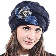 HISSHE Womens French Beret Wool Beret Angora Beanie Winter Hat BR022